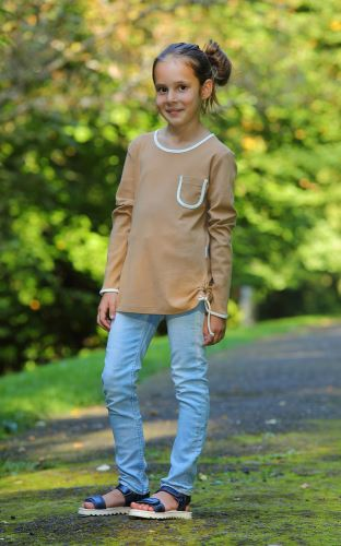 Dívčí bio tričko/tunika s řasením