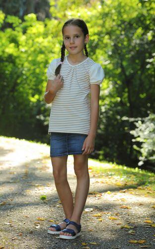 Dívčí BIO tričko s řaseným rukávkem