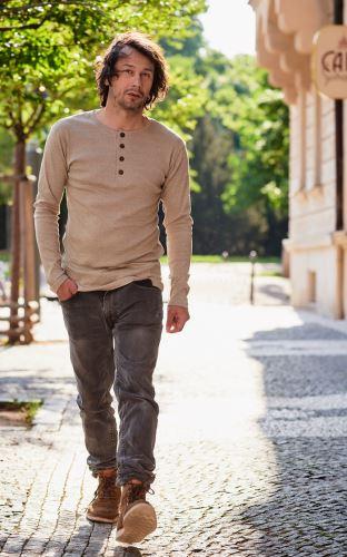 Pánské BIO tričko s légou a dlouhým rukávem melír Sand/Salvia