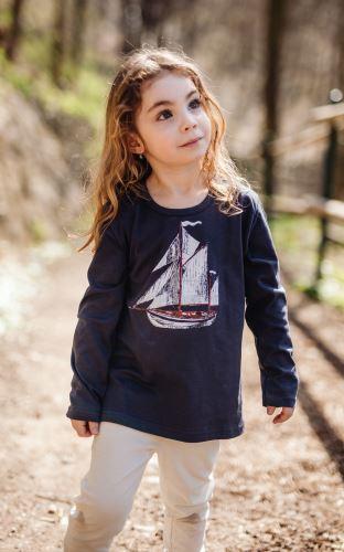 Dětské bio tričko NAVY s dlouhým rukávem