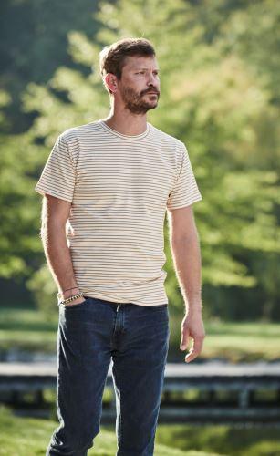 Pánské bio tričko smetanové s proužkem, krátký rukáv