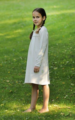 Dívčí noční košile BIO smetanová - Hnědé tečky