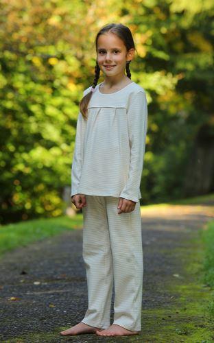 Dívčí bio pyžamo  smetanové - hnědé tečky