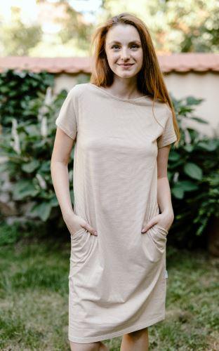 Lehké šaty z biobavlny s kapsami - jemný proužek